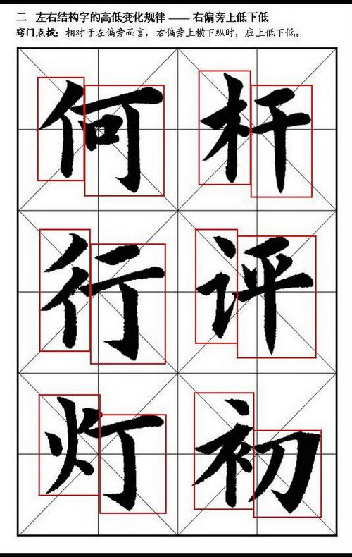 即横向笔画(横、横折、撇捺的收笔、平撇、竖弯钩横向部分)在上要